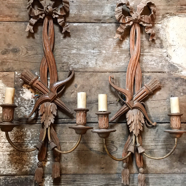 19th Century Carved Pine Wall Lights