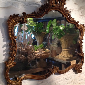 19th century carved wood Rococo mirror