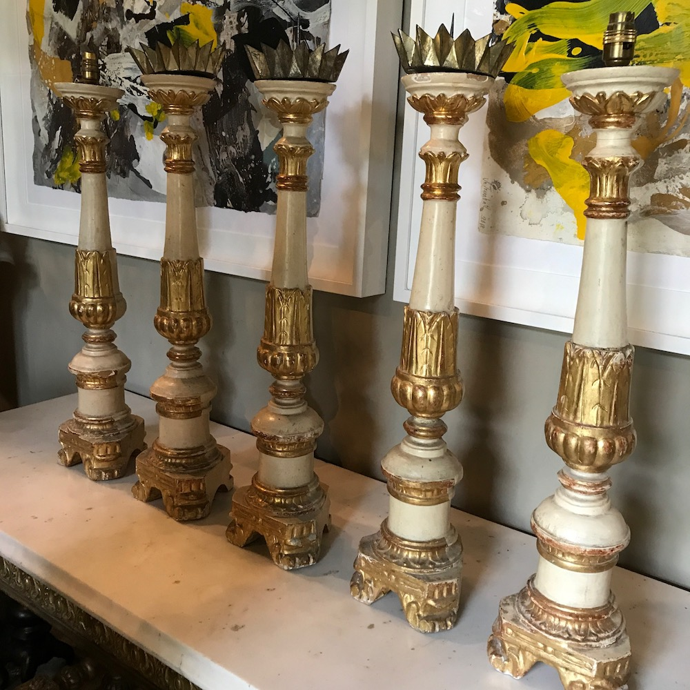 A Set of 5 C19th Italian Giltwood and Paint Pricked Sticks/Candlesticks