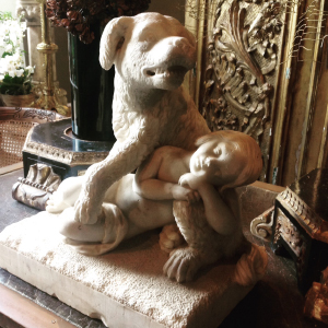 C19th marble statue of hound and boy