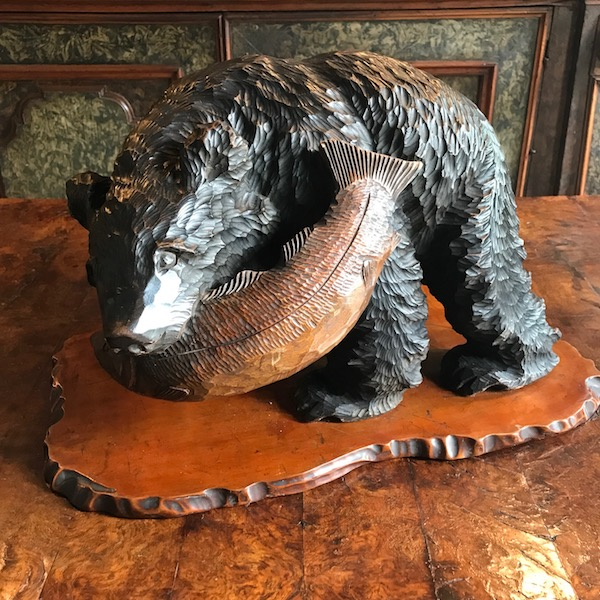 C19th Black Forest Bear With Fish Carving