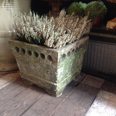 Carved Stone Square Planter