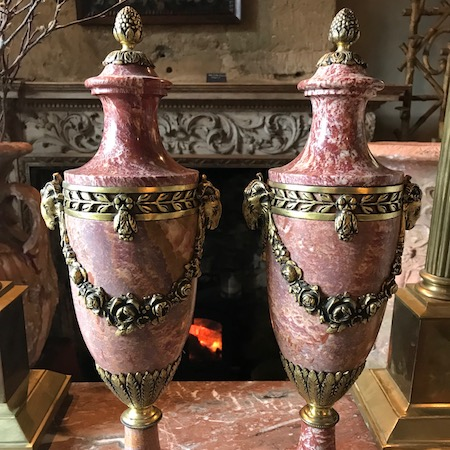 Pair of Marble and Ormolu 19th Century Urns