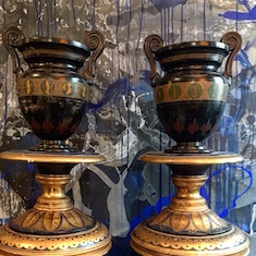 19th Century English Pair of Ceramic Urns