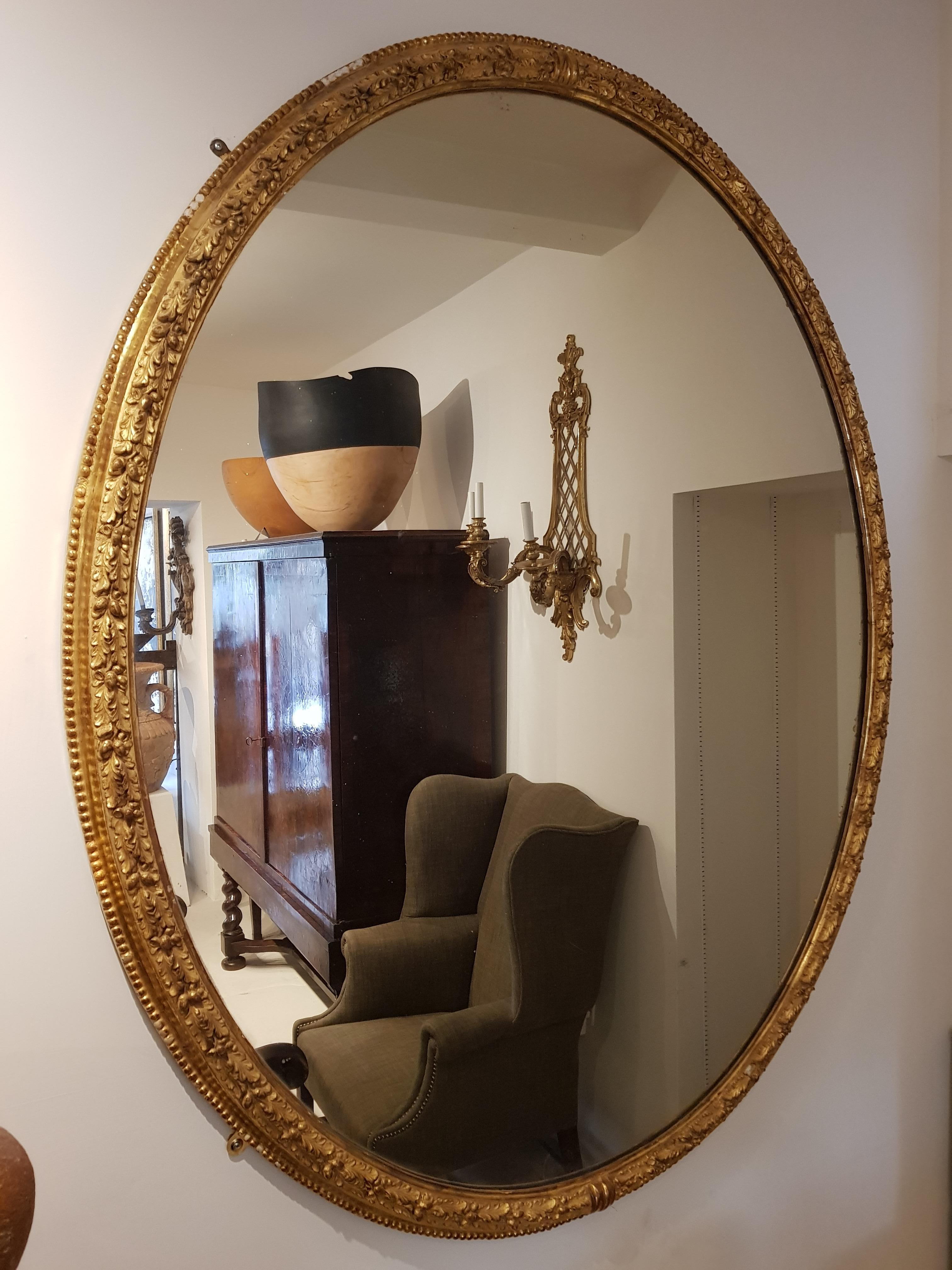 19th Century Giltwood Oval Mirror