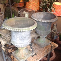 19th Century Pair of Lead Urns
