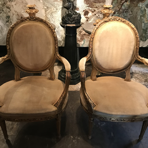 2 pairs of giltwood French late 19th century armchairs