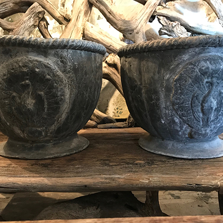A great pair of 19th Century English lead urns