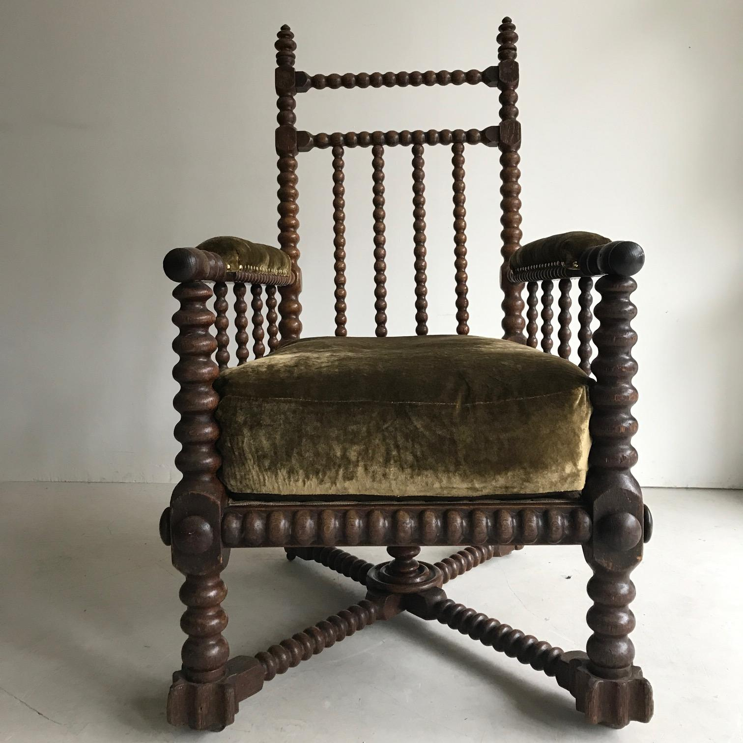 A huge English oak C19 th bobbin chair