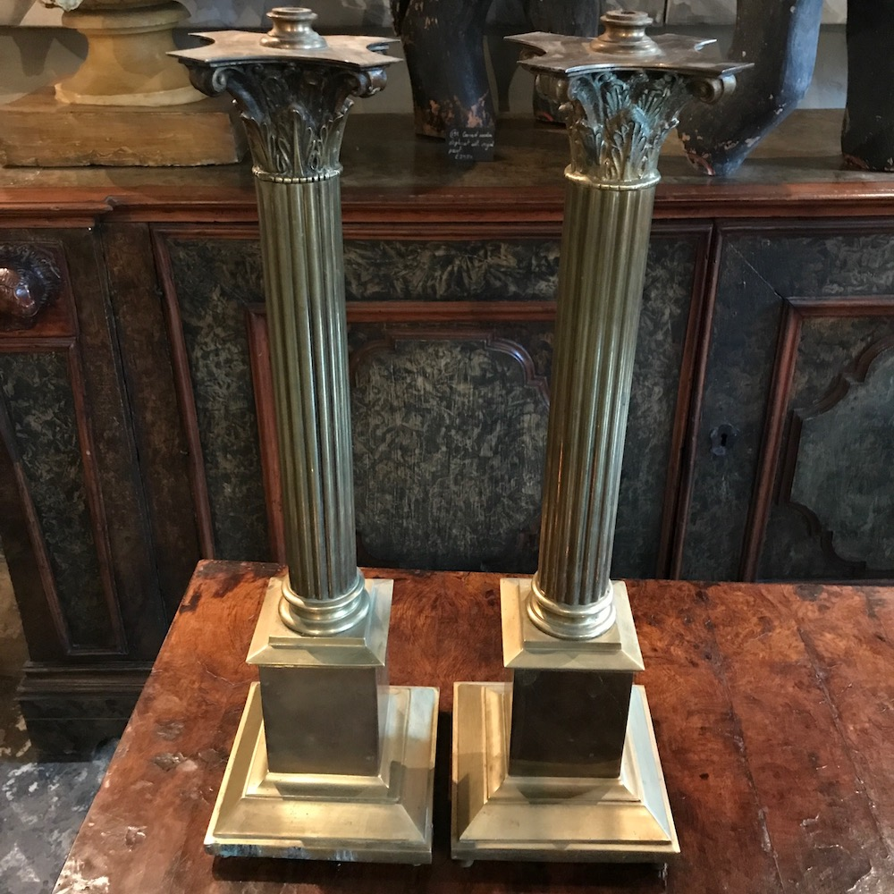 A Pair of C19th Brass Column Lamps With Corinthian Capitols.