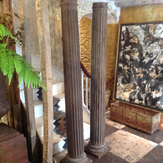 A pair of C19th oak columns