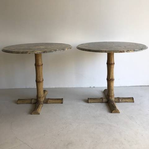 A pair of large C19 th english cast iron side tables with marble tops