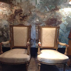 A pair of French C19th arm chairs