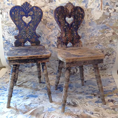 Beautiful pair of Scandinavian hand painted side/hall chairs
