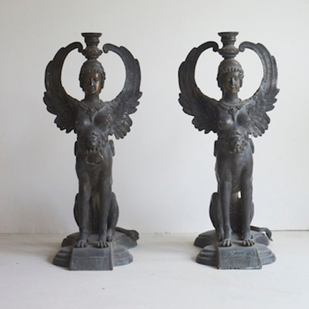 C19 th Italian Bronze Pair of Sphinx