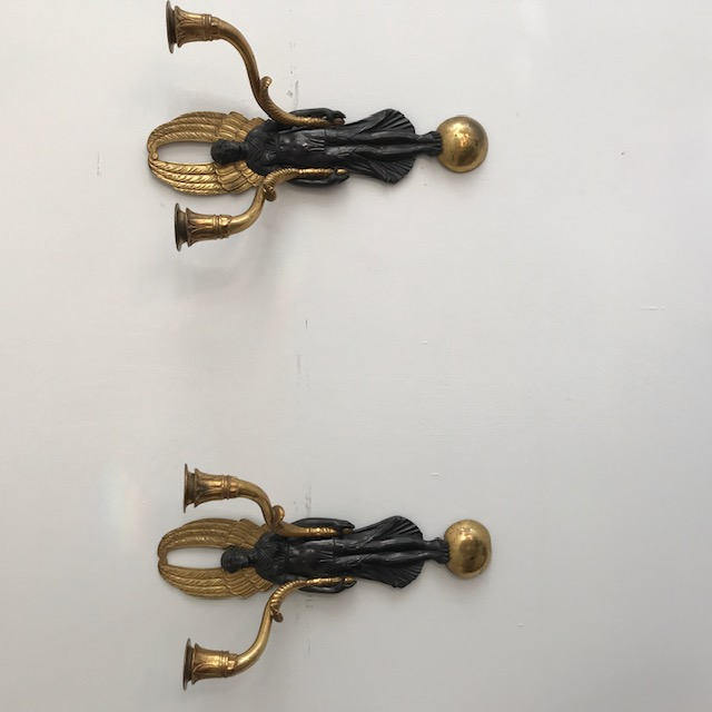 C19 th pair of bronze wall lights