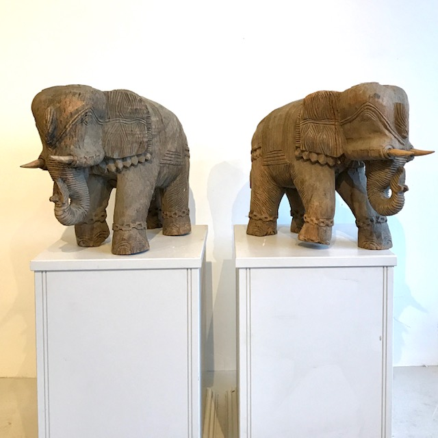 Carved wooden elephants