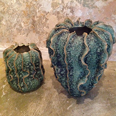 Ceramic pots large £325 small £275 sizes 13 inches high 11 inches and 9 inches high by 7 inches wide
