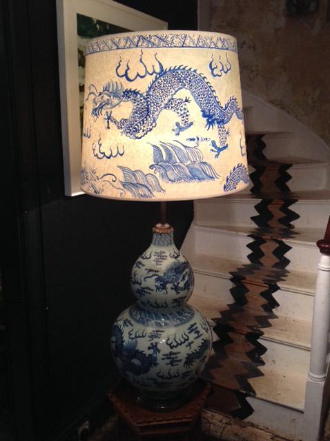 Chinese ceramic Blue u0026 White vase standing lamp u0026 Hand Painted Lampshade
