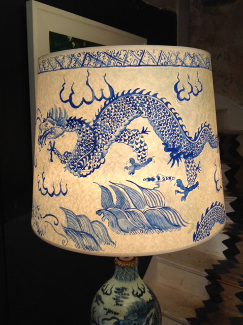 Chinese ceramic Blue u0026 White vase standing lamp u0026 Hand Painted Lampshade |  Sold items