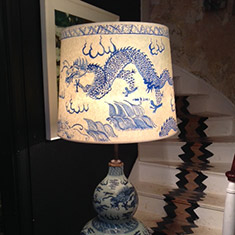 Chinese ceramic Blue & White vase standing lamp & Hand Painted Lampshade
