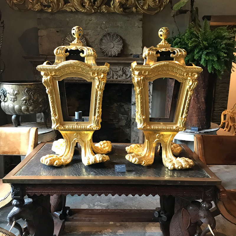 Copper gilt Italian lanterns