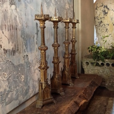 Set of Four Brass Pricket Sticks