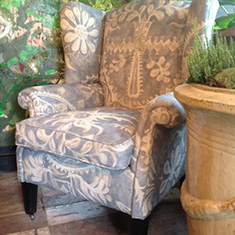 High Back Winged Armchair