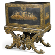 Indian black and gilt lacquered chest