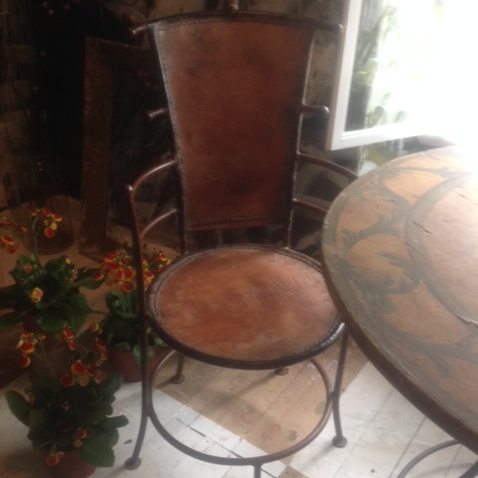 Italian   Metal  & Leather Chairs