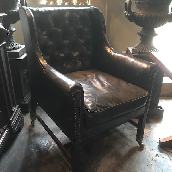 Large 19th Century Black Leather High Back Wingchair
