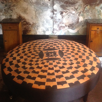 Large leather Patchwork Stool