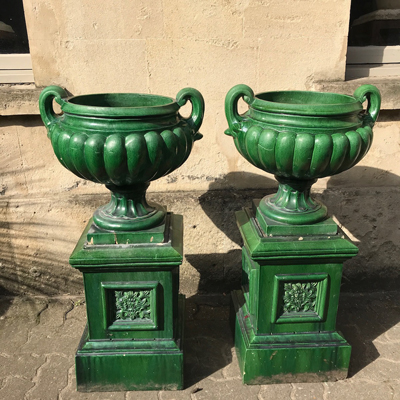 Large Pair of Glazed Green Urns on Pedestals