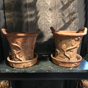 Lovely pair of stamped Cornish terracotta urns
