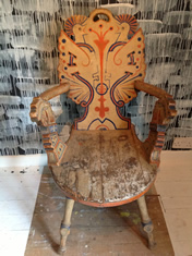 Norwegian hand painted folk art chair
