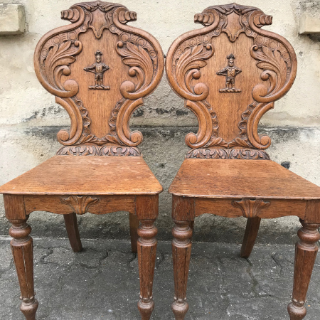 Oak hall chairs