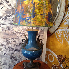 Ormolu mounted Empire Lamp base with Hand painted Shade
