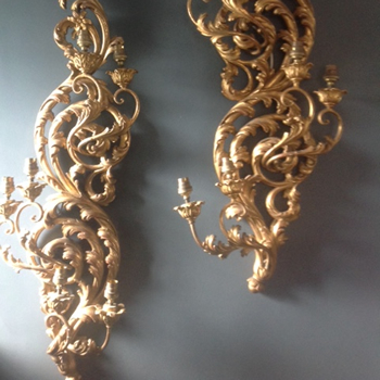 Pair of 19th Century Gilt & Wood wall lights