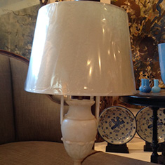 Pair of Alabaster Urn Lamps and Shades
