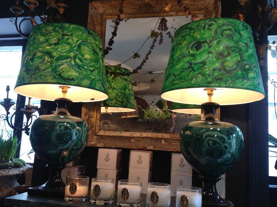 Pair of ceramic lamps with hand painted lampshades