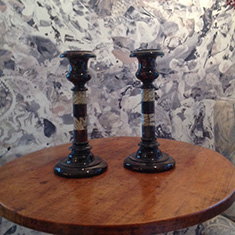 Pair of Cornish Granite Candlesticks