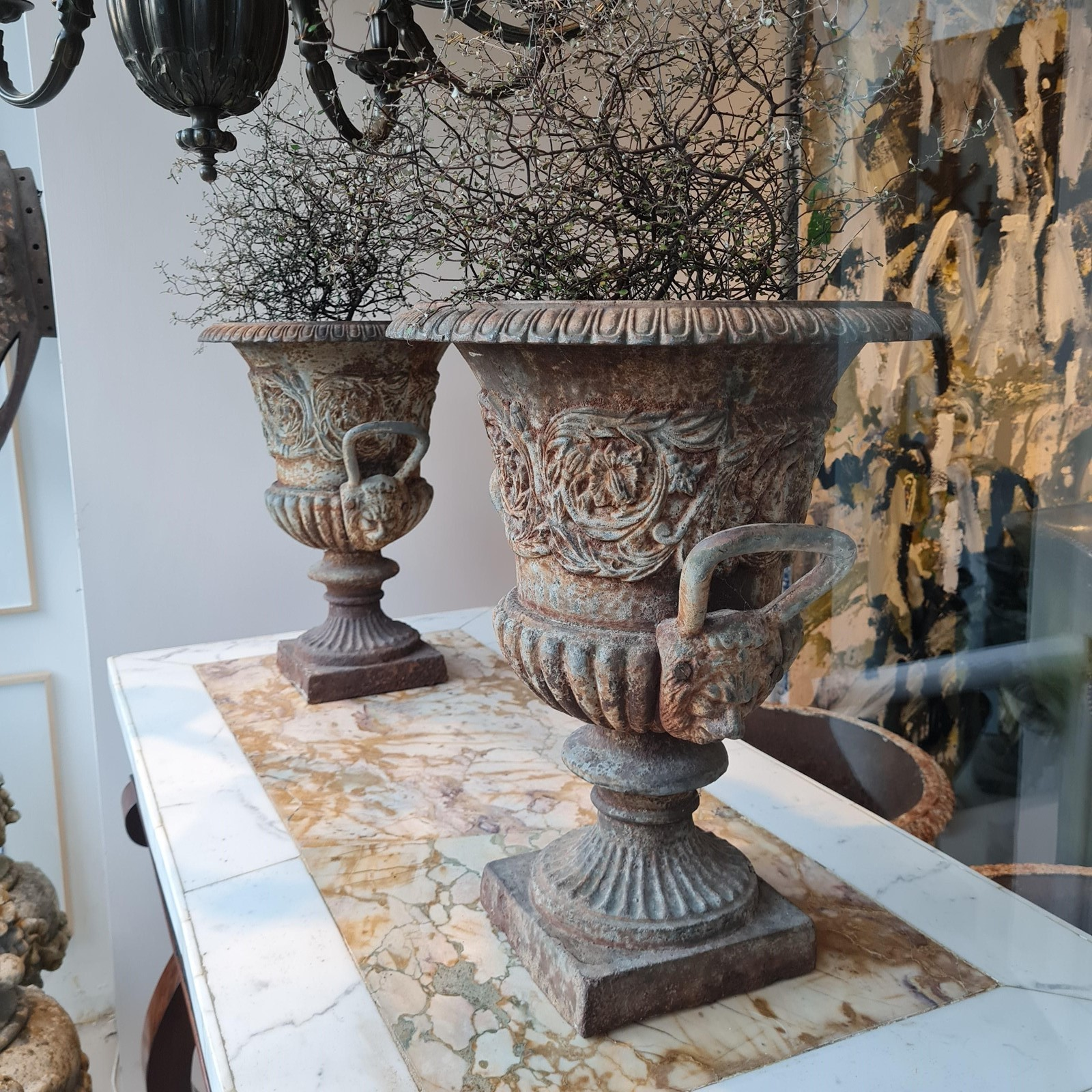 Pair of Exceptional Cast Iron Urns