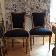 Pair of French Gilded Side Chairs