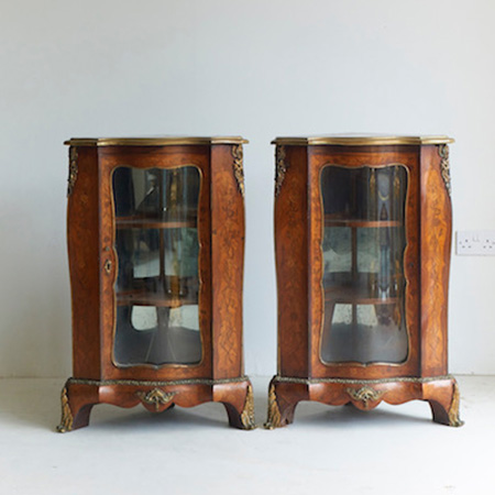 Pair of French Low Corner Cabinets