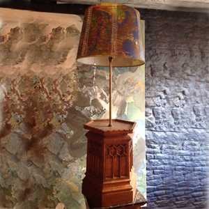 Pair of gothic lamp bases with handmade lampshades