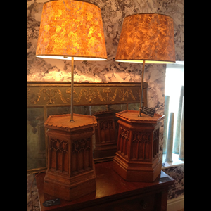 Pair of Gothic lampbases  with shades