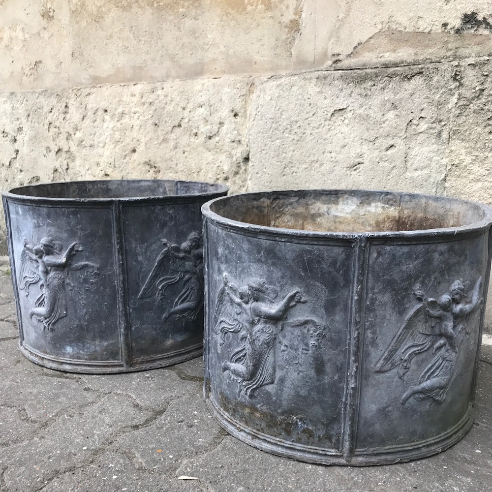 Pair of Late 19th Early 20th Century Lead Planters