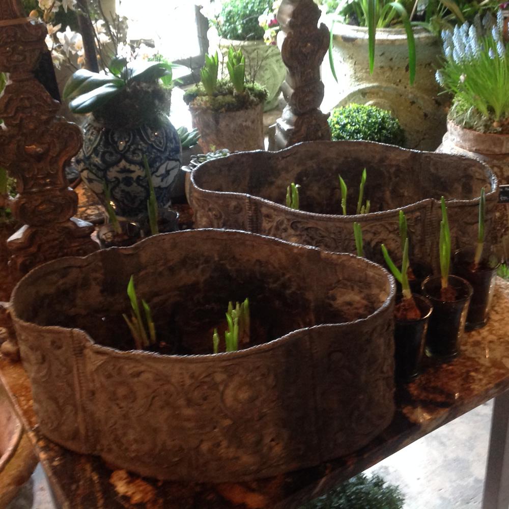 Pair Of Lead Garden Planters Garden Antiques