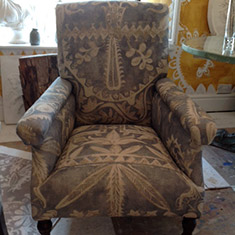Pair of  Upholstered Library Chairs