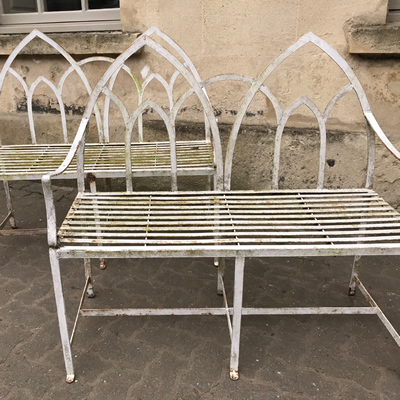 Pair of Painted Iron Benches